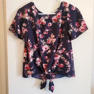Socialite Navy Floral Tie-Front Blouse, Small
